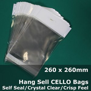 #PH260260 - 260x260mm Hang Sell Crystal Clear Cello Bags