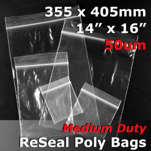 "#RB51416 - 355x405mm (14"" x 16\"") 50um ReSealable Poly Bag"