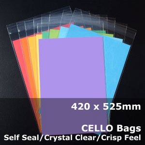 #PR420525 - 420x525mm Crystal Clear Cello Bags