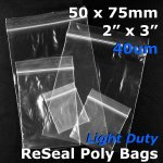"#RB423 - 50x75mm (2"" x 3"") 40um ReSealable Poly Bag"