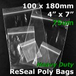 "#RB747 - 100x180mm (4"" x 7"") 75um ReSealable Poly Bag"