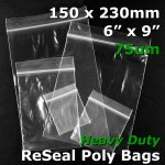 "#RB769 - 150x230mm (6"" x 9"") 75um ReSealable Poly Bag"