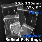 "#RB435 - 75x125mm (3"" x 5"") 40um ReSealable Poly Bag"