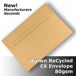 #S0771 ReCycled Brown C6 Envelope !SECONDS! 80gsm Wallet PnS
