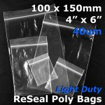 "#RB446 - 100x150mm (4"" x 6"") 40um ReSealable Poly Bag"