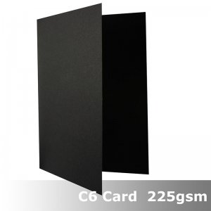 #N0222A - C6 Scored / Creased Cards Kaskad Raven Black 225gsm