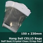 #PH150230 - 150x230mm Hang Sell Crystal Clear Cello Bags