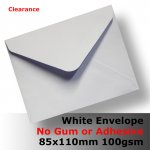 ENG10AK - 85x110mm NO GLUE Plain White Envelope 100gsm Banker