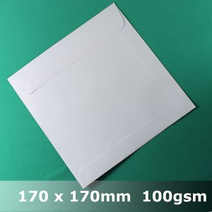 #E60BH - 170mm Square White Envelope 100gsm WLnS