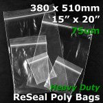 "#RB71520 - 380x510mm (15"" x 20"") 75um ReSealable Poly Bag"