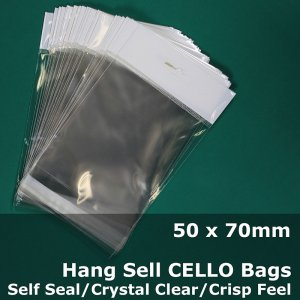 #PH5075 - 50x70mm Hang Sell Crystal Clear Cello Bags