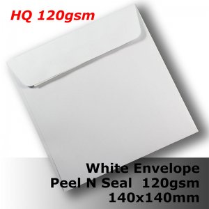 #E40CX - 140mm Square White Envelope 120gsm WPnS