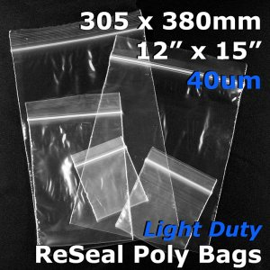 "#RB41215 - 305x380mm (12"" x 15\"") 40um ReSealable Poly Bag"