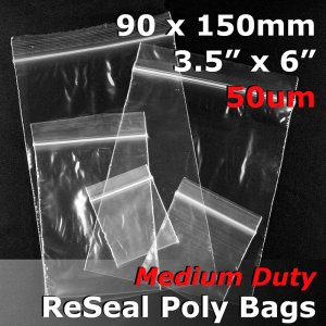 "#RB5356 - 90x150mm (3.5"" x 6\"") 50um ReSealable Poly Bag"