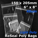 "#RB468 - 150x205mm (6"" x 8"") 40um ReSealable Poly Bag"