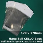 #PH170170 - 170x170mm Hang Sell Crystal Clear Cello Bags