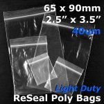 "#RB42535 - 65x90mm (2.5"" x 3.5"") 40um ReSealable Poly Bag"