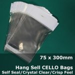 #PH75300 - 75x300mm Hang Sell Crystal Clear Cello Bags