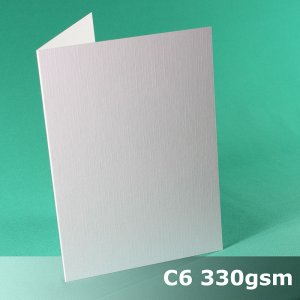 #H7022A - C6 Scored Cards Linen eXtreme White Card 330gsm