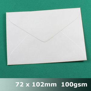 E05AH - 72 x 102mm Plain White Envelope 100gsm BLnS