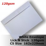 E55BP - C5 (162x229mm) White Envelope 120gsm WLnS