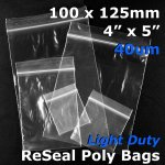 "#RB445 - 100x125mm (4"" x 5"") 40um ReSealable Poly Bag"