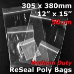 "#RB51215 - 305x380mm (12"" x 15"") 50um ReSealable Poly Bag"