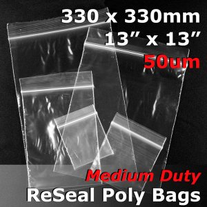 "#RB51313 - 330x330mm (13"" x 13\"") 50um ReSealable Poly Bag"