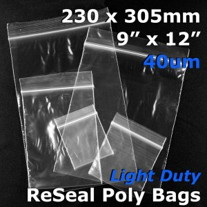 "#RB4912 - 230x305mm (9"" x 12\"") 40um ReSealable Poly Bag"