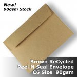 #S0771P ReCycled Brown C6 Envelope 90gsm Wallet PnS