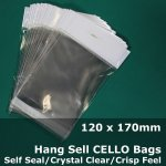 #PH120170 - 120x170mm Hang Sell Crystal Clear Cello Bags