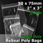 "#RB723 - 50x75mm (2"" x 3"") 75um ReSealable Poly Bag"
