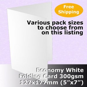 "#H55A20 - 5x7"" Scored Cards Economy White Card 300gsm"
