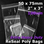 "#RB923 - 50x75mm (2"" x 3"") 100um ReSealable Poly Bag"