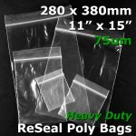 "#RB71115 - 280x380mm (11"" x 15"") 75um ReSealable Poly Bag"