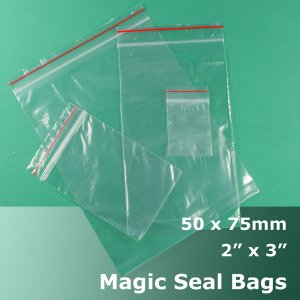 "#MB423 - 50x75mm (2"" x 3\"") Magic Seal Poly Bag"