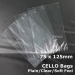 #PM75125 - 75x125mm Plain Clear Cello Bags
