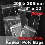 "#RB5812 - 205x305mm (8"" x 12"") 50um ReSealable Poly Bag"