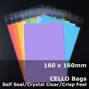 #PR160160 - 160x160mm Crystal Clear Cello Bags