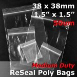 "#RB51515 - 38x38mm (1.5"" x 1.5"") 50um ReSealable Poly Bag"