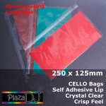 #PT250125 - 250x125mm (Open LE) Crystal Clear Cello Bags