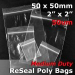 "#RB522 - 50x50mm (2"" x 2"") 50um ReSealable Poly Bag"