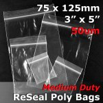 "#RB535 - 75x125mm (3"" x 5"") 50um ReSealable Poly Bag"