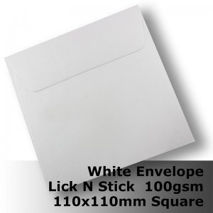 E20BH - 110mm Square Plain White Envelope 100gsm WLnS