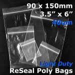 "#RB4356 - 90x150mm (3.5"" x 6"") 40um ReSealable Poly Bag"