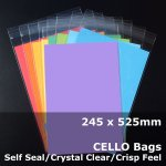 #PR245525 - 245x525mm Crystal Clear Cello Bags