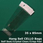 #PH3590 - 35x85mm Hang Sell Crystal Clear Cello Bags
