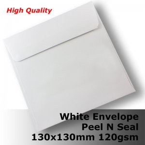 E35CP - 130mm Square White Envelope 120gsm WPnS