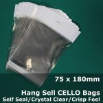 #PH75180 - 75x180mm Hang Sell Crystal Clear Cello Bags