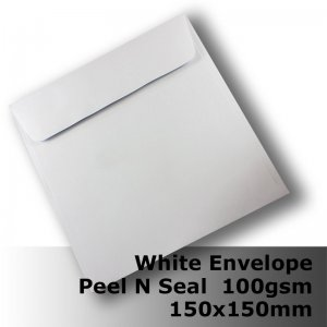 #E45CE - (SEE E45CP) 150mm Square White Envelope 100gsm WPnS